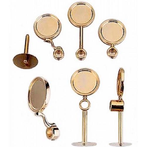 Kolonos ir jų dalys - Apvalus medalionas ilga kojele gold PVD